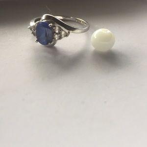 Jewelry - Blue Sapphire & 10k Raw Silver Ring